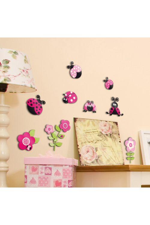 Dekorativna nalepka Pink Ladybugs (9 kosov)
