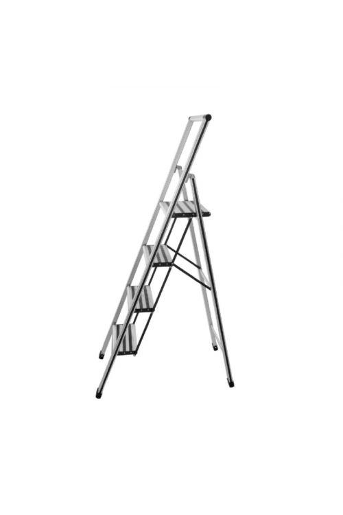 Aluminijasta gospodinjska lestev Wenko 3+1 (delovna višina: 2,80 m, transportna dolžina: 1,53m, nosilnost 150 kg)