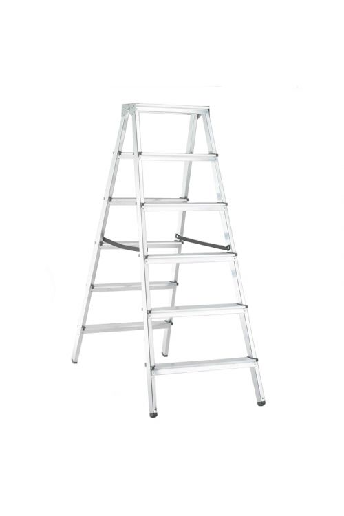 Aluminijasta gospodinjska lestev Alpos 2 x 6 (delovna višina: 2,88m, transportna dolžina: 1,4 m, nosilnost 150 kg)