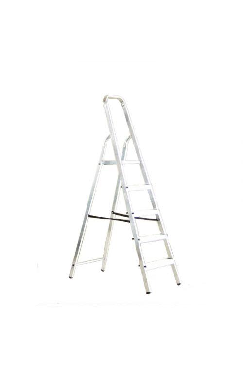 Aluminijasta gospodinjska lestev Alpos 4+1 (delovna višina: 2,88m, transportna dolžina: 1,78 m, nosilnost 150 kg)