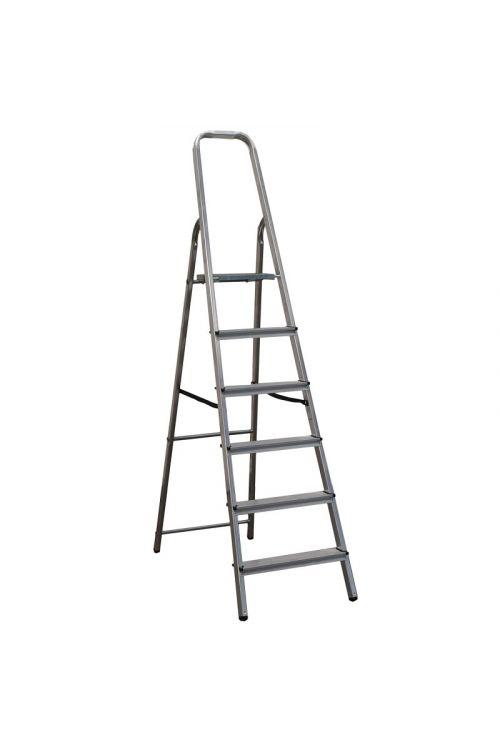 Aluminijasta gospodinjska lestev Alpos 5+1 (delovna višina: 3,10m, transportna dolžina: 2,02 m, nosilnost 150 kg)