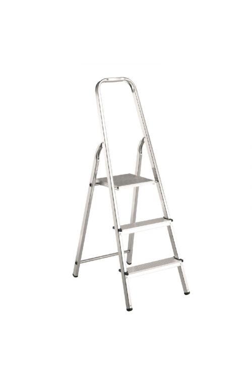 Aluminijasta gospodinjska lestev Alpos 2+1 (delovna višina: 2,44m, transportna dolžina: 1,30 m, nosilnost 150 kg)