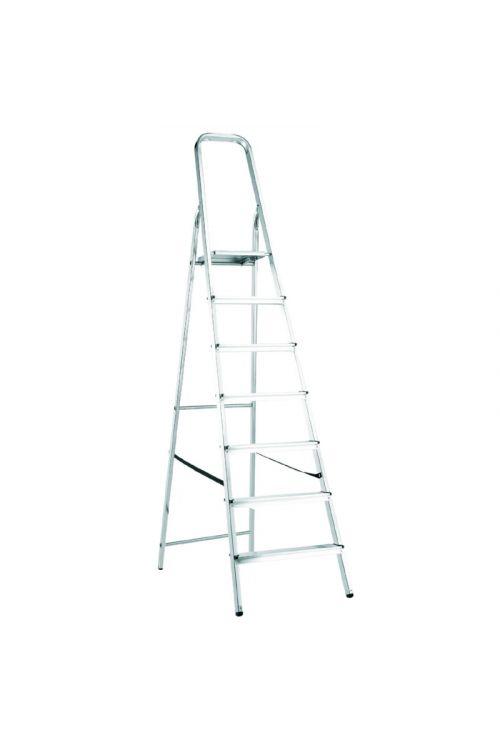 Aluminijasta gospodinjska lestev Alpos 6+1 (delovna višina: 3,32m, transportna dolžina: 2,25 m, nosilnost 150 kg)