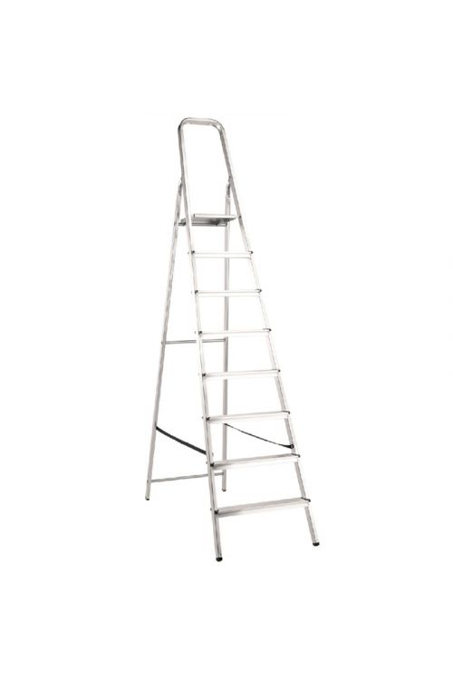 Aluminijasta gospodinjska lestev Alpos 7+1 (delovna višina: 3,55m, transportna dolžina: 2,49 m, nosilnost 150 kg)