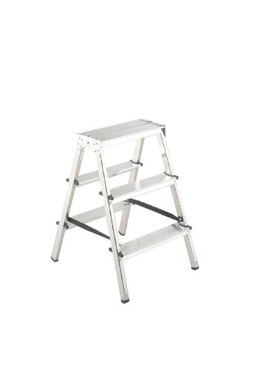 Aluminijasta gospodinjska lestev Alpos 2 x 3 (delovna višina: 2,22m, transportna dolžina: 0,7 m, nosilnost 150 kg)
