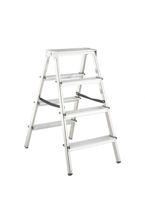 Aluminijasta gospodinjska lestev Alpos 2 x 4 (delovna višina: 2,44m, transportna dolžina: 0,93 m, nosilnost 150 kg)