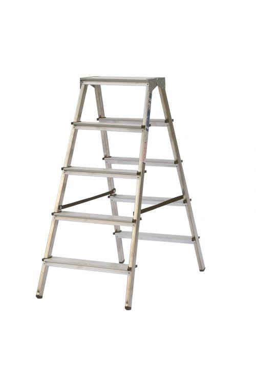 Aluminijasta gospodinjska lestev Alpos 2 x 5 (delovna višina: 2,66m, transportna dolžina: 1,16 m, nosilnost: 150 kg)