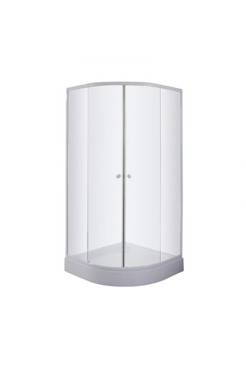 Polkrožna tuš kabina s kadjo Sanotechnik (80 x 80 x 193 cm, beli profili, steklo: 4 mm, mat, tuš kad 12,5 cm)