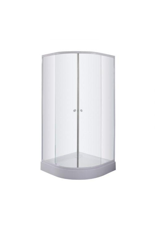 Polkrožna tuš kabina s kadjo Sanotechnik (90 x 90 x 193 cm, beli profili, steklo: 4 mm, mat, tuš kad 12,5 cm)