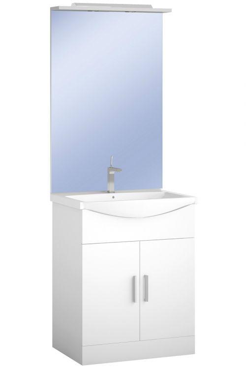 Kopalniški sestav Smart 65 (65 x 45 x 185 cm, bela, sijaj, LED)
