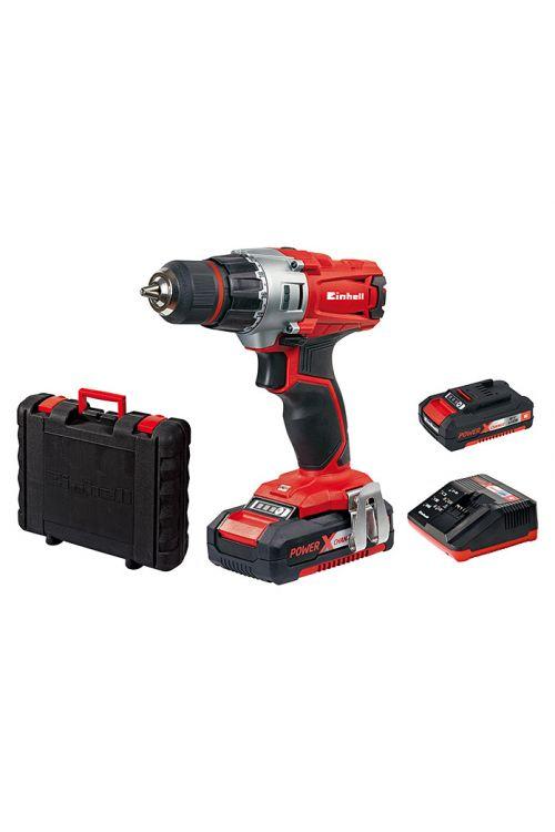 Akumulatorski vrtalnik Einhell Power X-Change TE-CD 18/2 Li Kit (18 V, 2 x Li-Ion baterija 1,5 Ah, 0–1.250 vrt./min)