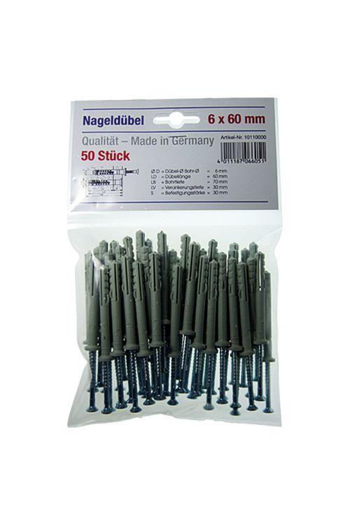 Komplet udarnih zidnih vložkov (premer vložka: 6mm, dolžina: 60 mm, 50kosov, najlon)