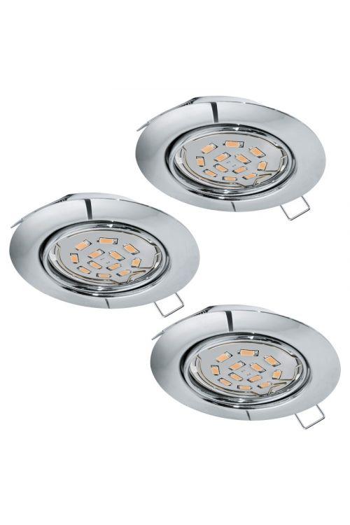LED VGRADNA SVETILKA PENETO (3 x GU10, 5W, 1.200 lm, 3.000 K, premer 8,7 cm, metal, krom)