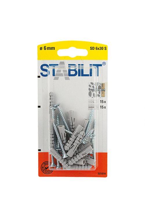Razcepni zidni vložki Stabilit (premer: 6 mm, dolžina: 30 mm, za polne zidake, 15 kosov, z vijaki/kavlji)