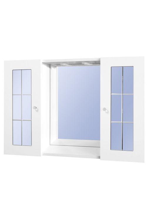 Omarica z ogledalom Perla (90 x 58 x 15 cm, bela, sijaj, LED)
