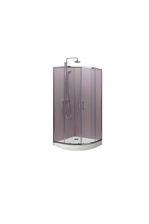 Polkrožna tuš kabina TKP90/K s kadjo Ontex Kolpa San, SET (90 x 90 x 185 cm, srebrni profili, steklo: 5 mm, tuš kad 17 cm)