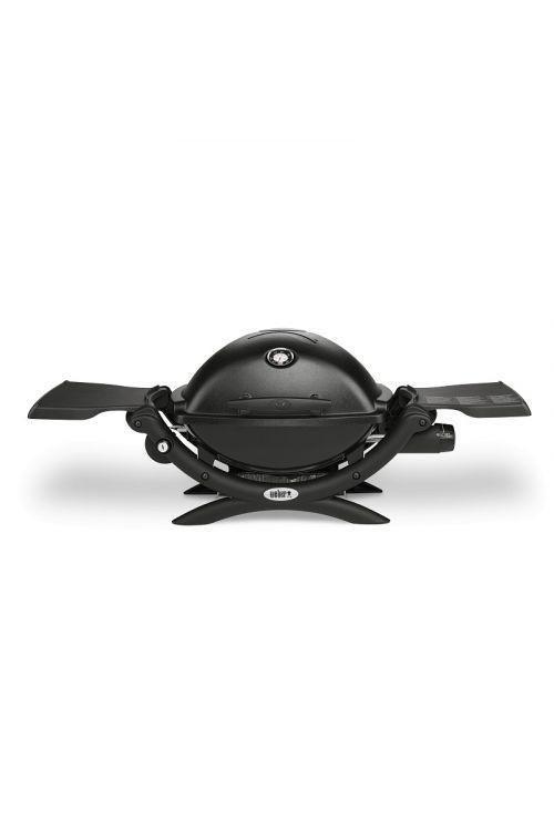 Plinski žar WEBER Q 1200 (2,49 kW, 1 gorilnik, rešetka 43 x 32 cm, pokrov in ohišje iz litega aluminija, posodica za maščobo, v 40 x š 57 x d 104 cm, črne barve)