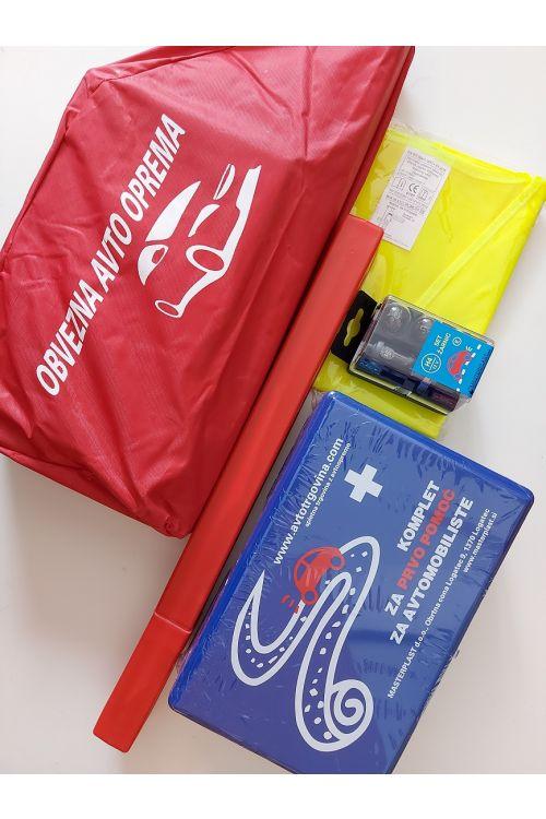 Set obvezne opreme H4 (komplet prve pomoči, komplet žarnic H4, Evro varnostni trikotnik, varnostni telovnik, torbica)