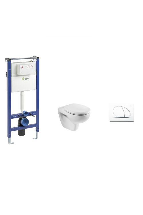 Set Liv in Roca z vgradnim kotličkom, tipko, WC školjko in WC desko