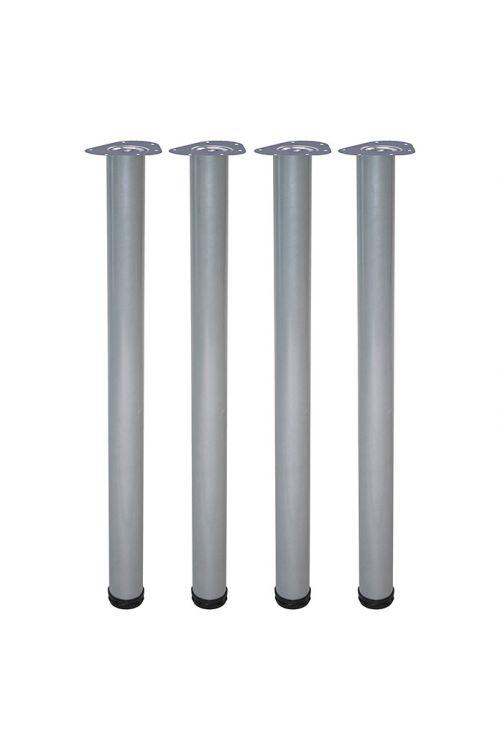 Komplet pohištvenih nog Element System Toskana (Ø x D: 60 mm x 700 mm, bela/aluminij, nosilnost: 75 kg, 4 kosi)