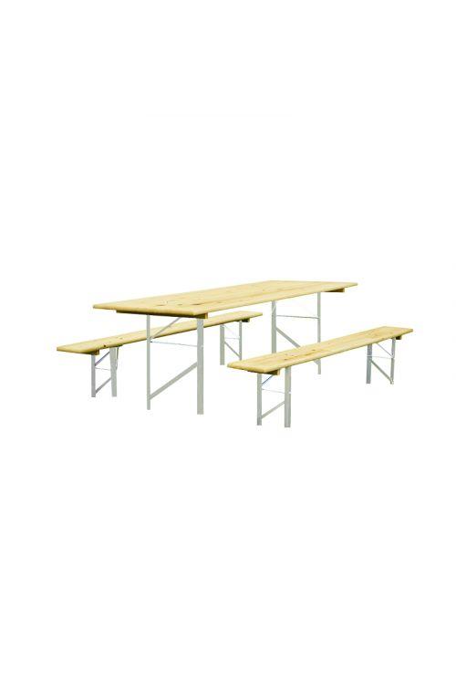 Gasilska garnitura z naslonom (miza d 220 x š 77,5 x v 80 cm, 2 x klop d 220 x š 24 x v 47 cm, pocinkano ogrodje, smreka/jelka)