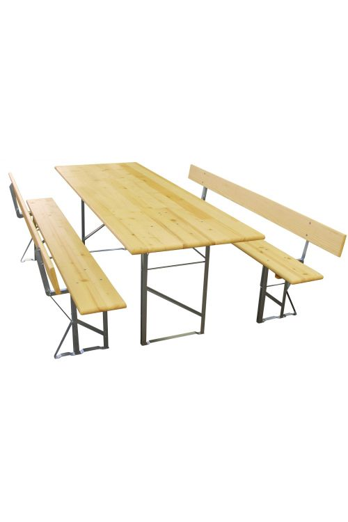 Gasilska garnitura (miza d 220 x š 77,5 x v 80 cm, 2 x klop z naslonom d 220 x š 24 x v 47 cm, pocinkano ogrodje, smreka/jelka)