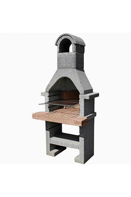 Mini betonski kamin Lecca 3 z nikljano rešetko (kurišče: 52 x 33 cm, delovna plošča: 78 x 70 cm)