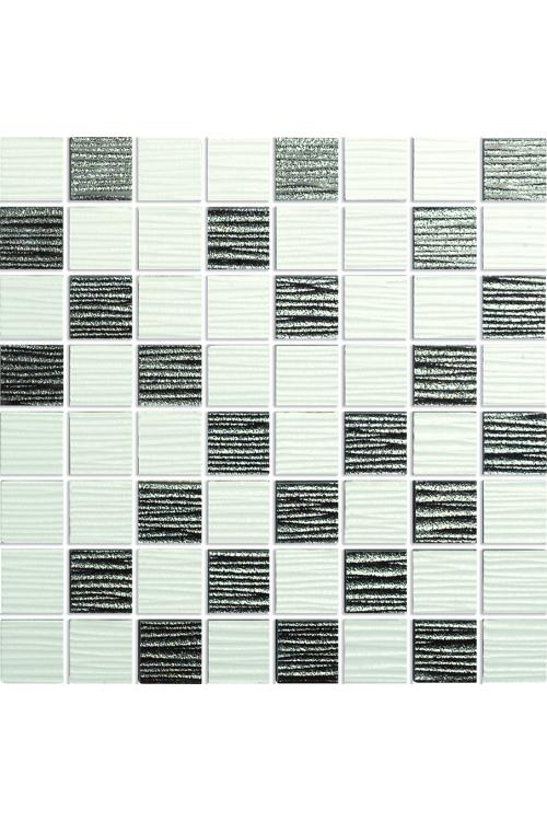 Mozaik ploščice Mosaik Lines (30 x 30 cm, črna/bela, sijaj)