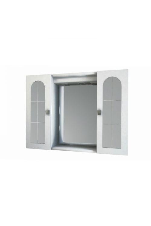 Omarica z ogledalom Roma (80 x 60 x 17 cm, bela, sijaj, LED)