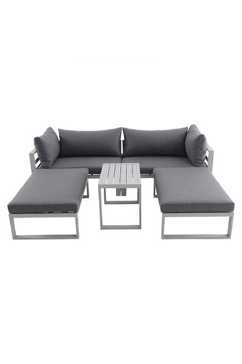 Lounge vrtna garnitura Sunfun Hannah (5-delna, kovina, sive barve)