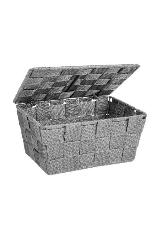 Košarica s pokrovom Wenko Adria (19 x 10 x 14 cm, siva, polipropilen)