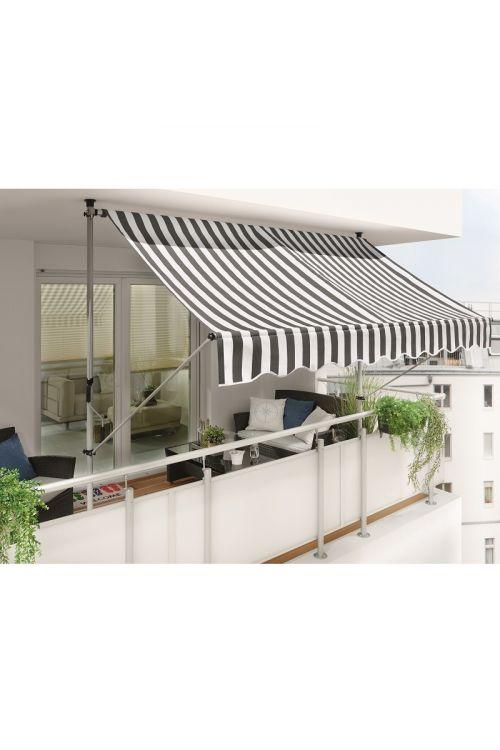 Zatična markiza Sunfun (3 x 1,3 m, sivo-bela, montaža med stropom in tlem)