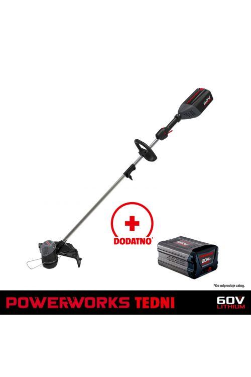 Akumulatorska kosilnica na nitko POWERWORKS P60LT (60 V, brez baterije in polnilca, premer reza nitke 35 cm, nitka 2 mm, teža 8,23 kg)