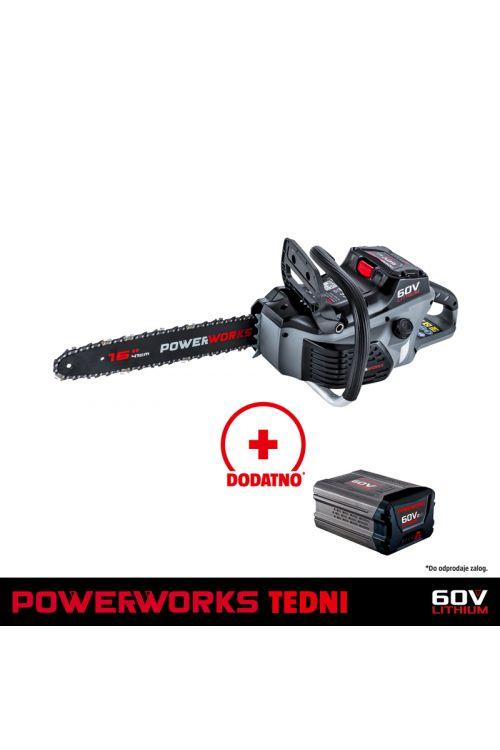 Akumulatorska verižna žaga POWERWORKS PD60CS40 (60 V, li-ion, brez baterije, dolžina rezila 40 cm)