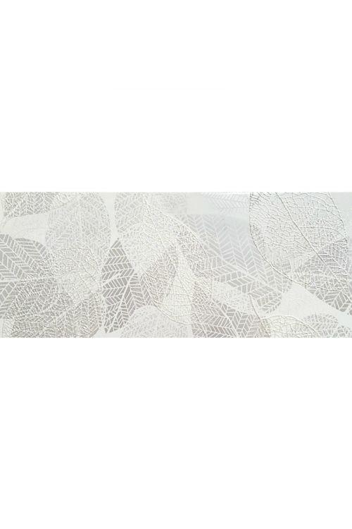 Stenska ploščica Bristol (25 x 60 cm, siva, dekor listje, sijaj)