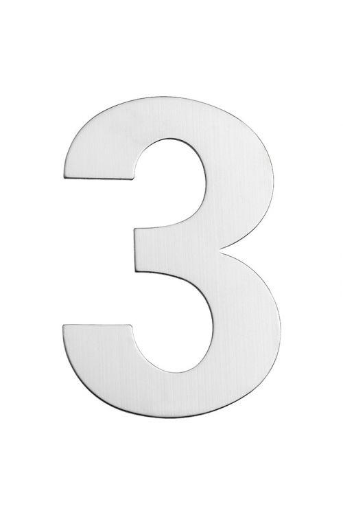 Hišna številka 3 Portaferm (višina: 15 cm, legirano jeklo, motiv: 3)