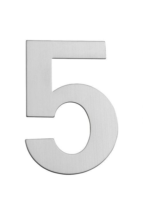 Hišna številka 5 Portaferm (višina: 15 cm, legirano jeklo, motiv: 5)