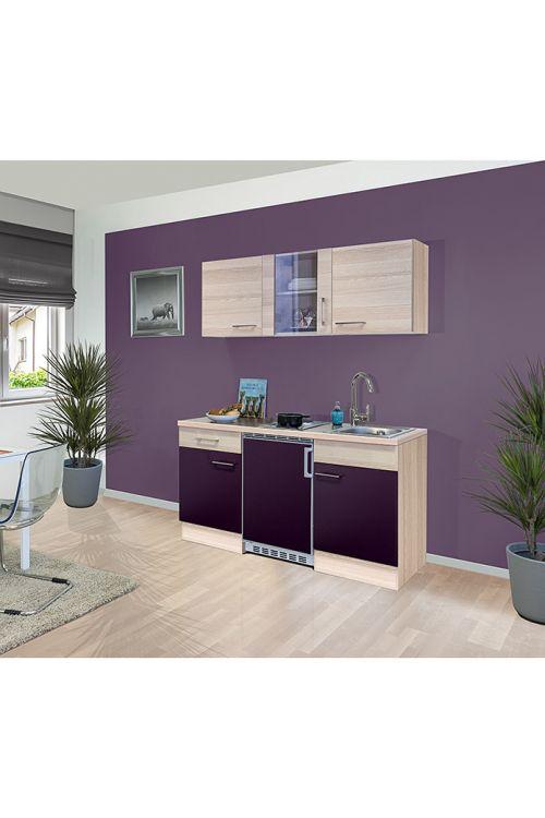 Kuhinja Sofia (150 cm, kuhalna plošča, hladilnik, korito, akacija/vijolična)