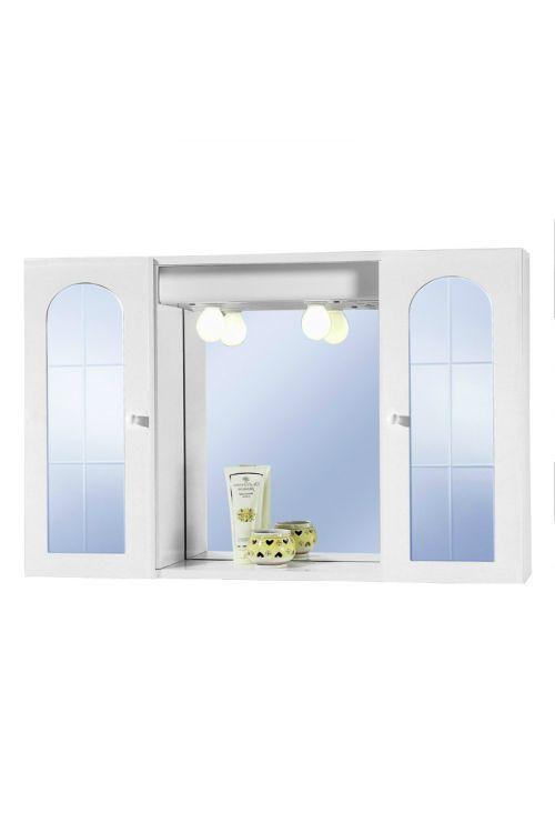 Omarica z ogledalom Sirio (83 x 58 x 15 cm, bela, sijaj, z osvetlitvijo)