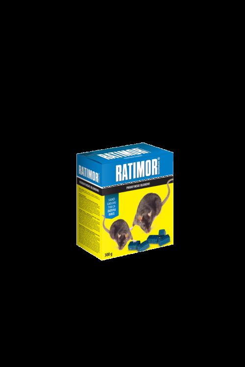 Parafinski bloki Ratimor (300 g, proti mišim in podganam, tudi za vlažne prostore/višje temperature, neškodljivo za hišne ljubljence)