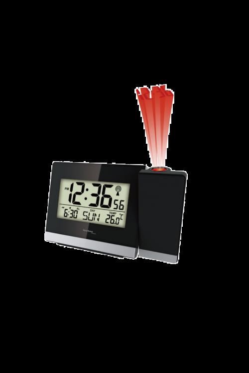 Projekcijska budilka Technoline WT 536 (radijsko vodena, črna, 14,7 x 4,2 x 9,2 cm)
