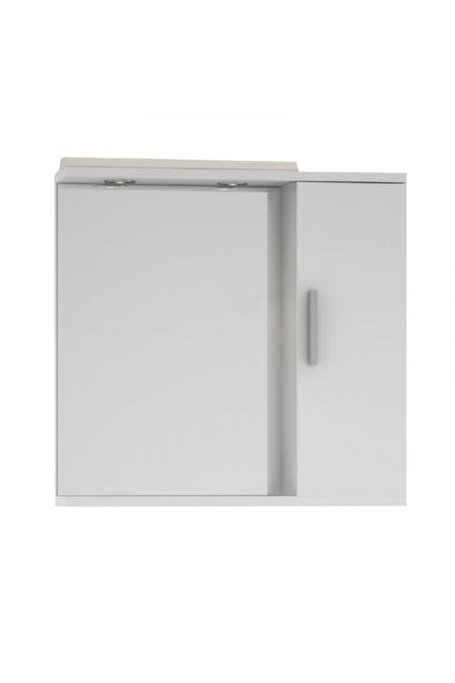 Omarica z ogledalom Bravo (68 x 65 cm, bela, sijaj, LED)