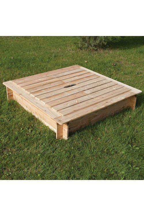 Peskovnik s pokrovom (d 120 x š 120 x v 25 cm, kompakten les, rob za sedenje)