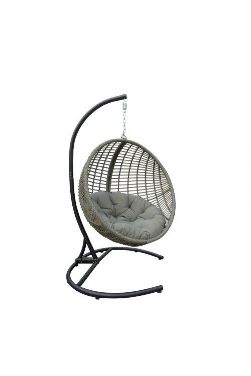 Viseči stol SUNFUN (skupna višina 200 cm, stol d 80 x š 100 x v 100 cm, aluminijasto ogrodje, PE pletivo, nosilnost do 110 kg, sive barve)