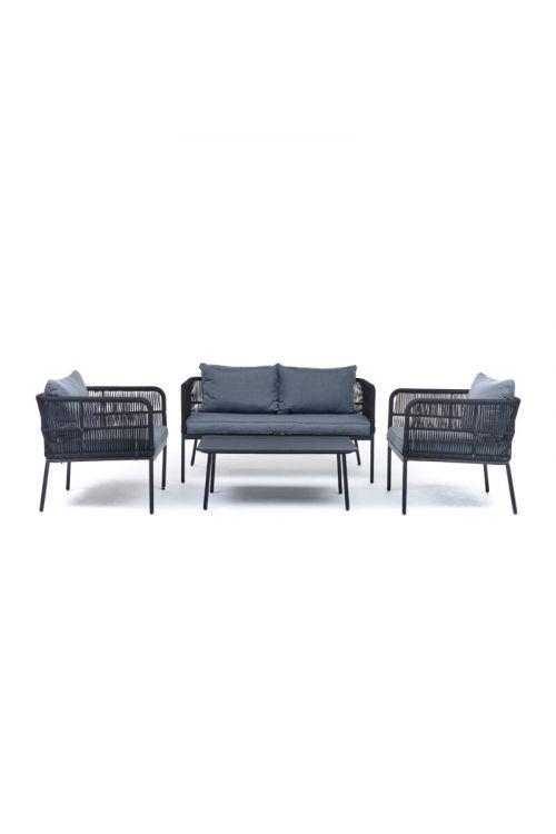 Lounge vrtna garnitura SUNFUN Cuba (dvosed d 140 x š 72 x v 70 cm, 2 x naslonjač d 70 x š 72 x v 70 cm, miza d 100 x š 55 x v 38 cm, aluminijasto ogrodje, PE pletivo, z blazinami)