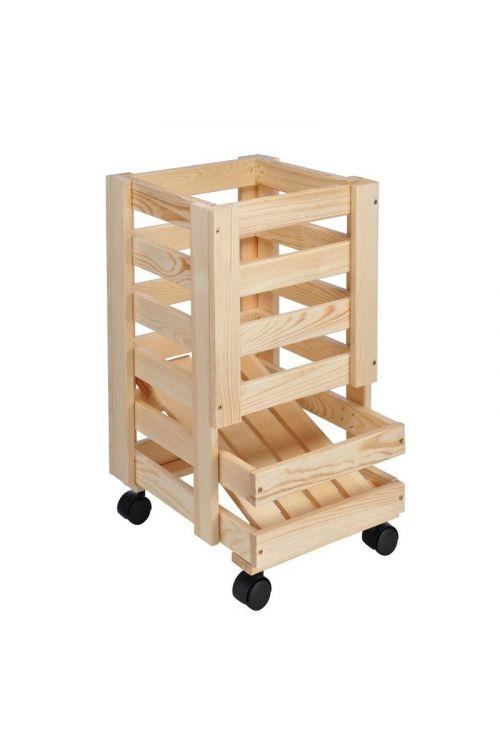 Zaboj za živila (48 x 35 x 11 cm, lesen, na kolesih)