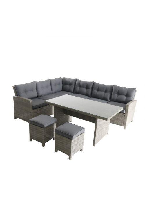 Lounge vrtna garnitura SUNFUN Silvana (trosed z naslonom za roko d 178 x š 78 x v 84 cm, ravni trosed d 206 x š 78 x v 84 cm, 2 x otoman d 41,5 x š 41,5 x v 37 cm, miza d 151 x š 81 x v 66 cm, aluminijasto ogrodje, PE pletivo)