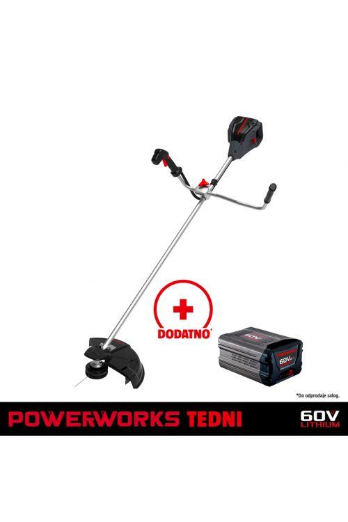 Akumulatorska kosilnica na nitko POWERWORKS PD60BCB (60 V, brez baterije in polnilca, premer reza nitke 35 cm, premera reza noža 25 cm, teža 8,23 kg)
