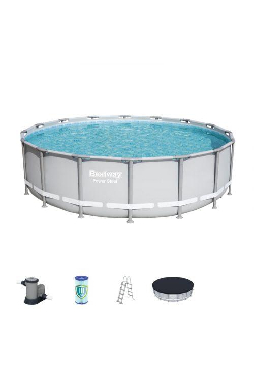 Montažni bazen Bestway Framepool (š 488 x g 122 cm, filtrska črpalka 5.678 l/h, lestev, ponjava)