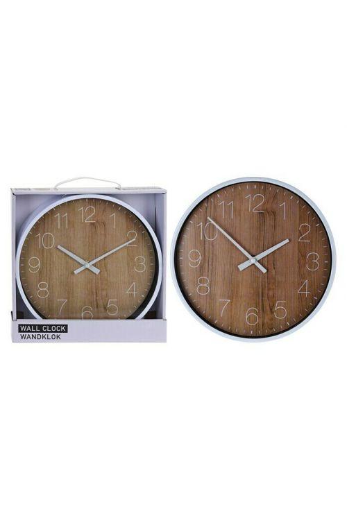 Stenska ura v videzu lesa (premer: 25 cm, rjava/srebrna)